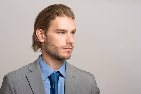 white suit: Portrait of an handsome businessman Stock Photo