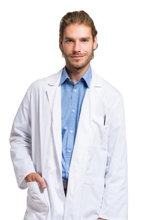 bata blanca: Retrato de un médico retrato sonriente hermoso Foto de archivo