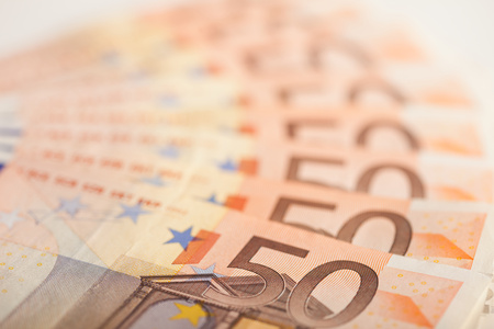 Fifty Euro bills background