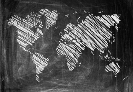 World Map on a Blackboard