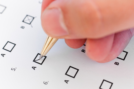 multiple choice: Closeup of a multiple choice test