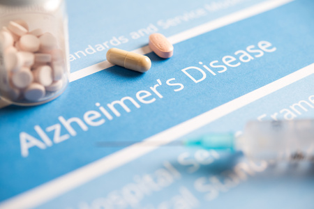 aging brain: Alzheimers disease related documents and drugs Stock Photo