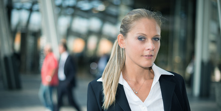 blue eye: Portrait of a smiling beautiful business woman