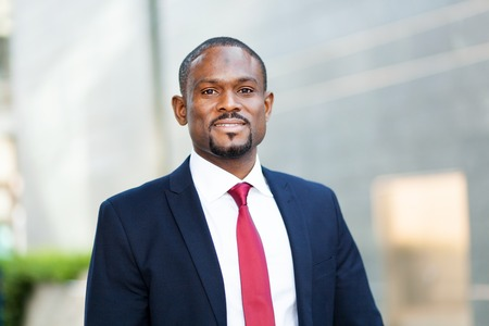 black businessman: Confident black businessman outdoor