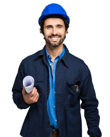 trabajador petrolero: Retrato del ingeniero aislado en blanco