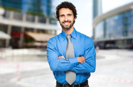 company job: Handsome businessman outdoor Stock Photo
