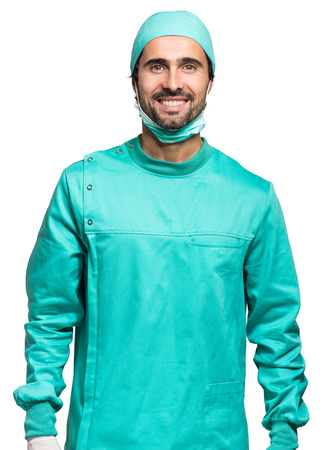 operating hygiene: Surgeon isolated on white