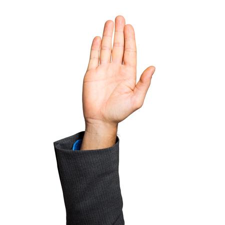 Geschäftsmann Hand heben isoliert auf weiß Standard-Bild