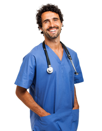 Handsome male nurse isolated on white
