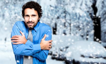 a blizzard: Businessman under the snow