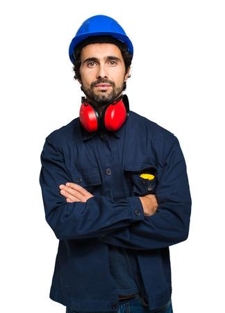 trabajador petrolero: Retrato de un trabajador industrial aislado en blanco