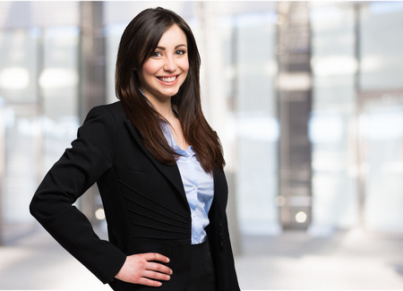 Portret van een mooie Glimlachende zakenvrouw Stockfoto
