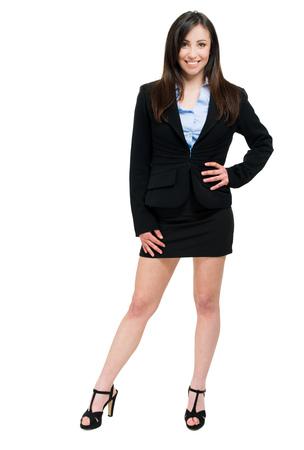 belles jambes: Beau portrait de femme d'affaires pleine longueur Banque d'images