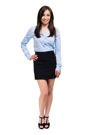 cute teen: Friendly female manager full length Stock Photo
