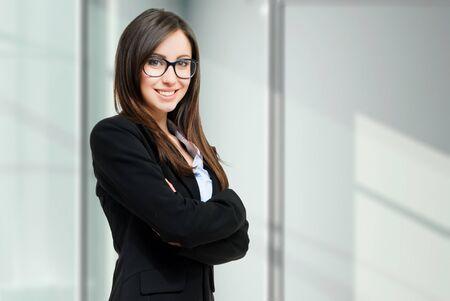 background person: Young businesswoman portrait