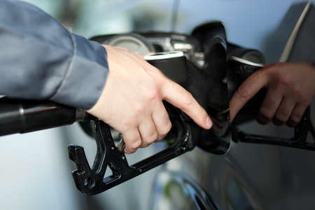 white car: Fuel nozzle