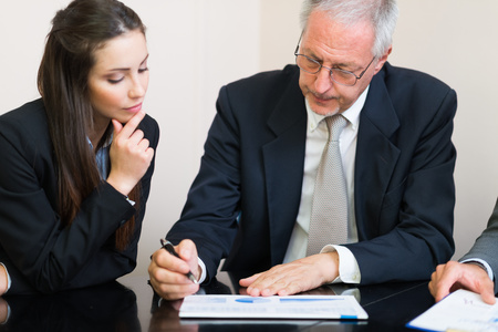 finance director: Business people at work during a meeting Stock Photo