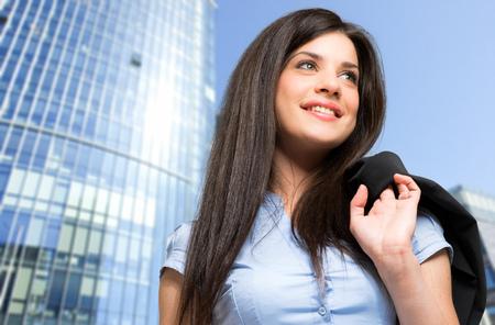 smile face: Beautiful businesswoman outdoor
