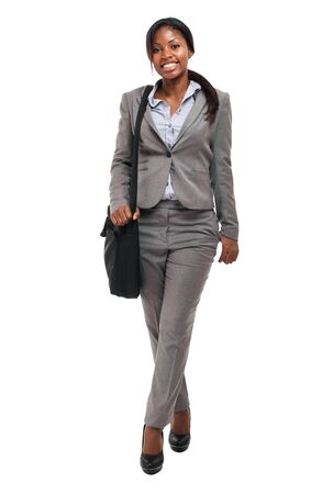 completo: africanos de negocios que sostiene una cartera Foto de archivo