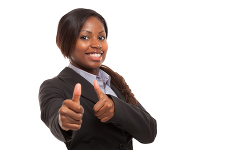 company job: Business woman showing thumbs up