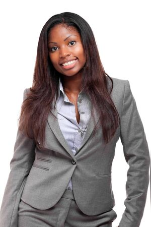 african business: Smiling young african business woman isolated on white Stock Photo
