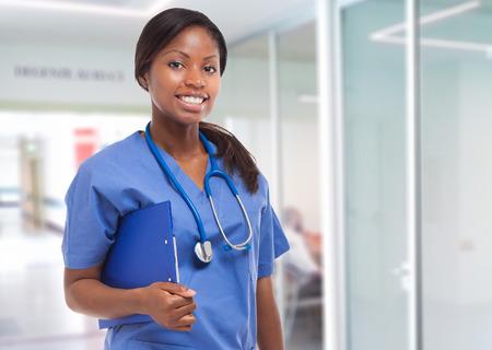 Black nurse portrait Standard-Bild
