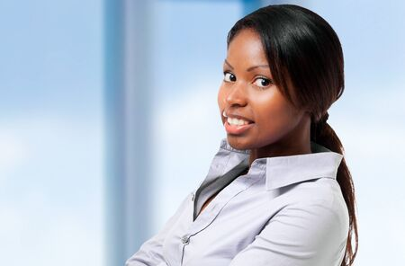 persons: Black businesswoman portrait indoor Stock Photo