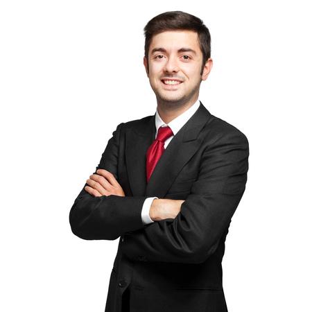 Jonge zakenman op wit wordt geïsoleerd