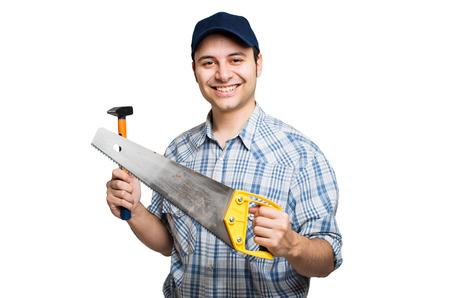 Smiling carpenter isolated on white Stock Photo