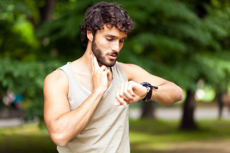 Portrait of a guy doing fitness outdoors Stock Photo