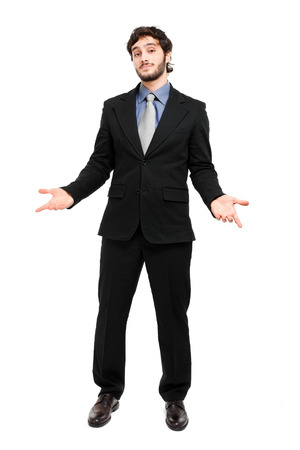 Approachable young business man with open arms isolated Stock Photo