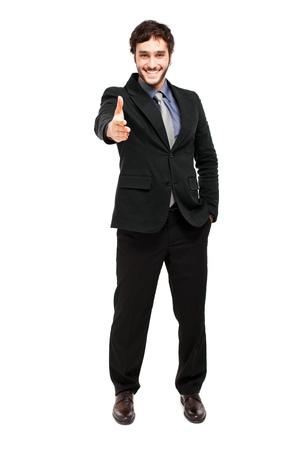 Smiling businessman  full length isolated on white