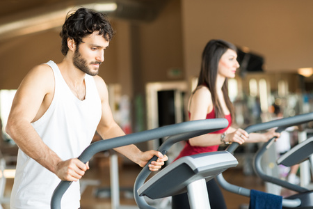 People working out in a fitness center photo
