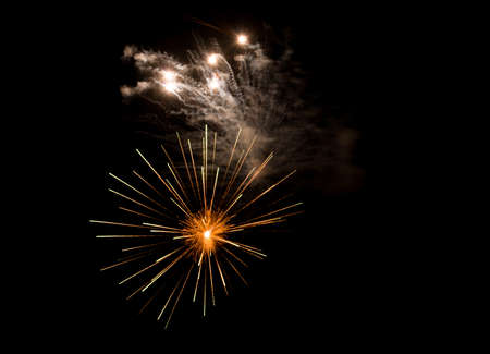 Beautiful Fireworks in the sky, celebration and new year concept Banco de Imagens