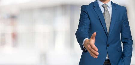 Business handshake, Wide bright background