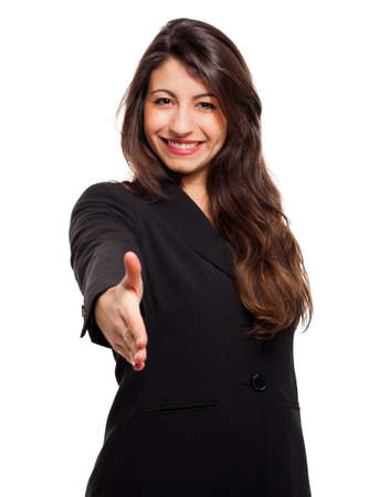 Smiling businesswoman standing over white isolated background, business, education, office, shake hand concept Stock Photo
