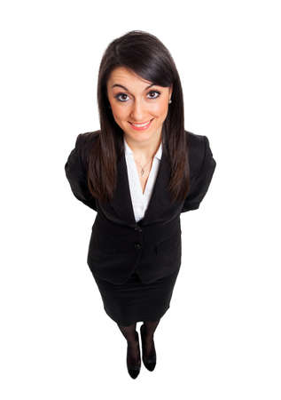 Businesswoman full length smiling seen from above