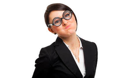 Funny portrait of a nerd woman wearing nerd glasses