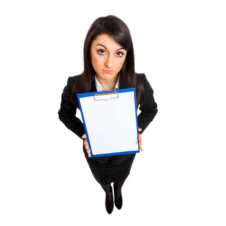 Businesswoman full length holding a blank clipboard seen from above
