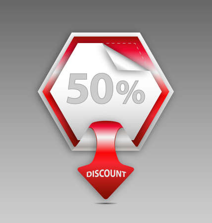 Red discount label Stock Vector - 15984593