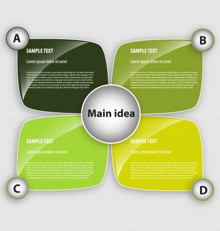 Creatief ontwerp van de presentatie sjabloon met vier tekstvakken en verfraaiing Stockfoto - 15984594