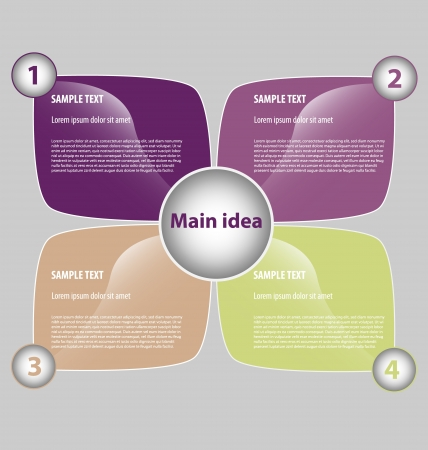 Creative design of presentation template with four text boxes and embellishment