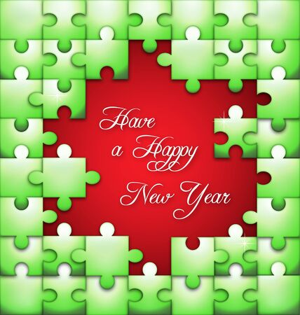 Stylized New Year vector background with the puzzle overlay