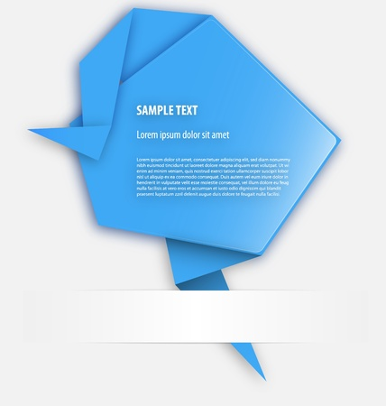Origami presentation template with empty area for text inclusion