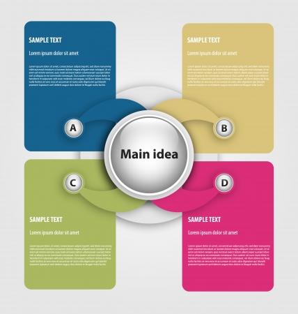 process diagram: Progettazione di presentattion  scelta modello con caselle di testo vuote Vettoriali