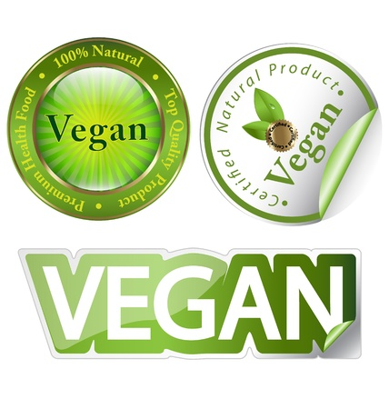 Creative set of labels for vegan-related foods/drinks