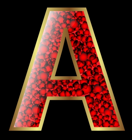 Design of a vector decorative alphabet with gold, glossy effect and heart embellishment Stock Vector - 15984611