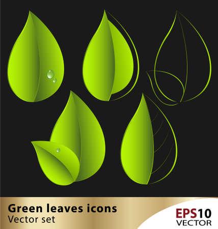 Green vector leaf icon creative set Stock Vector - 15984552