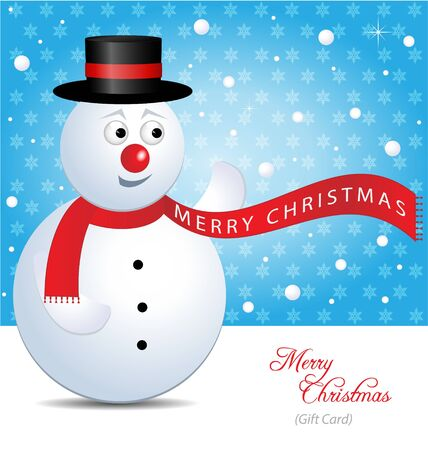 Vector Christmas gift Card with snowman and winter landscape Vector