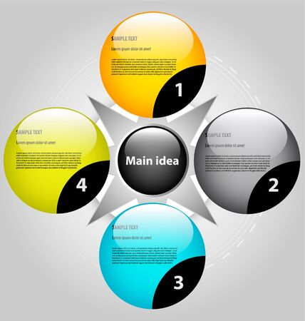 Design of presentationchoice template with empty text boxes Illustration